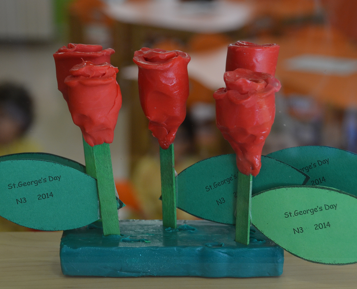Roses made by the Nursery 3 pupils